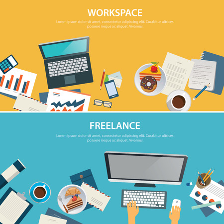 freelance: workspace and freelance banner flat design template