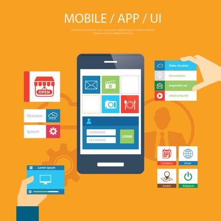 ui: mobile app and ui element flat design