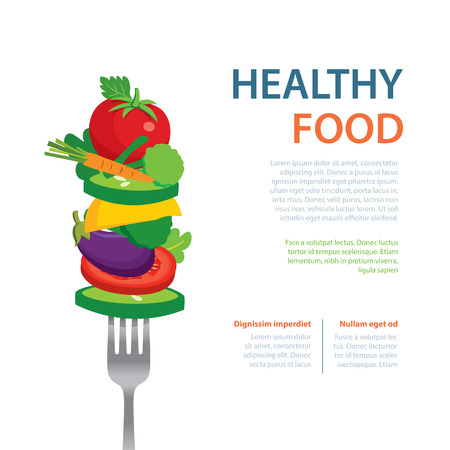 diet food: healthy food on the fork  diet concept fruits and vegetables