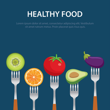 healthy food on the forks diet concept fruits and vegetables