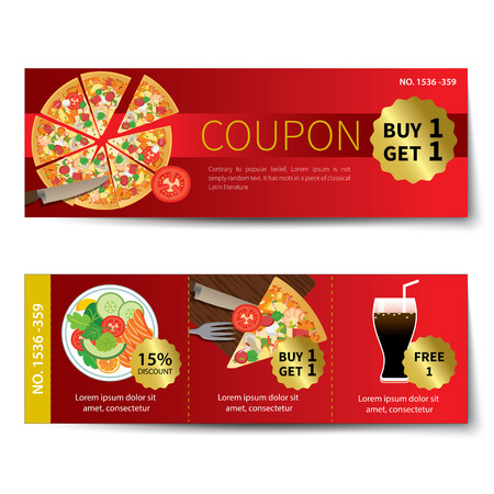 Reihe von Lebensmittel Coupon Rabatt Template-Design Standard-Bild - 42610449