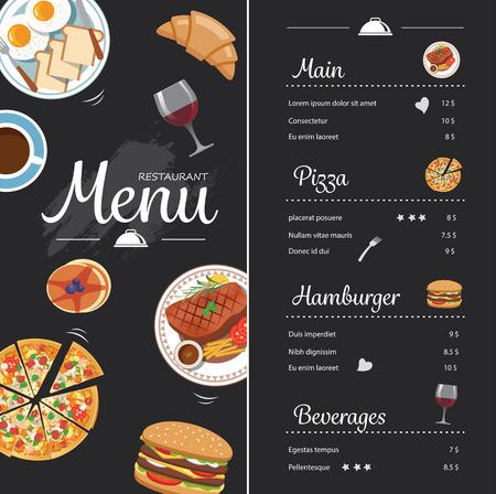 restaurante de diseño de menú de alimentos con la pizarra Ilustración de vector