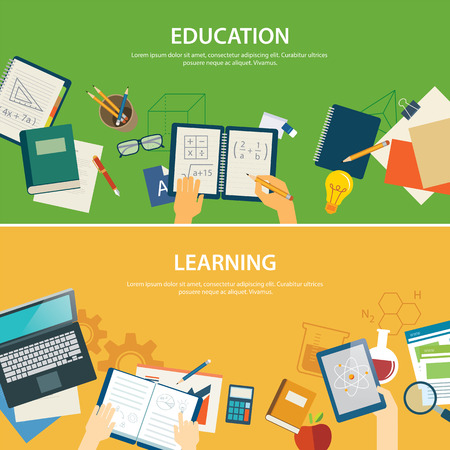 education and learning  banner flat design template 矢量图像