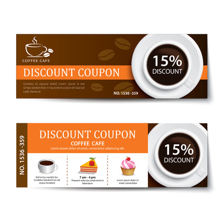 discount card: coffee coupon discount template design Illustration