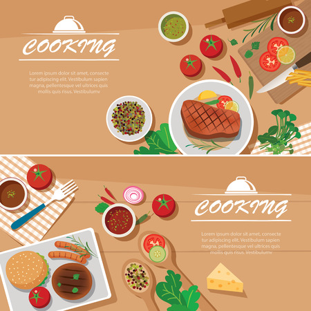 lunch table: cooking banner flat design template
