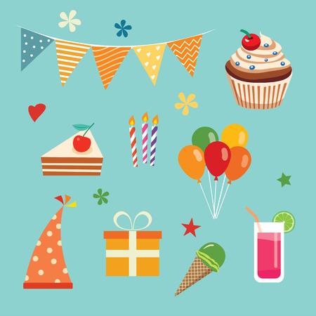 fiesta de cumpleanos: Conjunto del partido de feliz cumplea�os Vectores