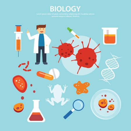 animal cell: biology background education concept flat design
