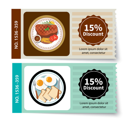 Reihe von Lebensmittel Coupon Rabatt Template-Design Standard-Bild - 43462342