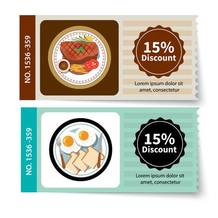 set van voedsel coupon korting template ontwerp