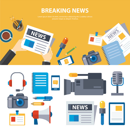 to interview: breaking news and media banner elements concept flat design Illustration