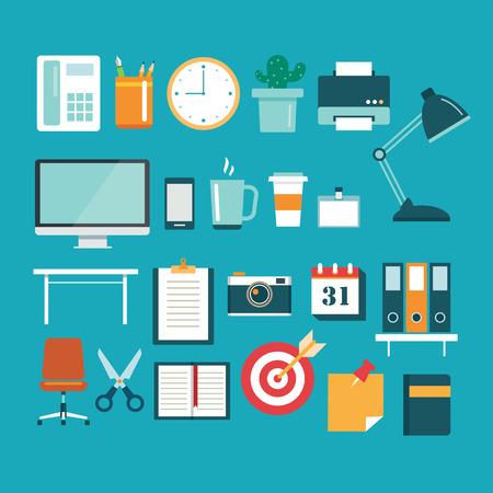 articulos oficina: conjunto de equipo de oficina icono de diseño plano Vectores