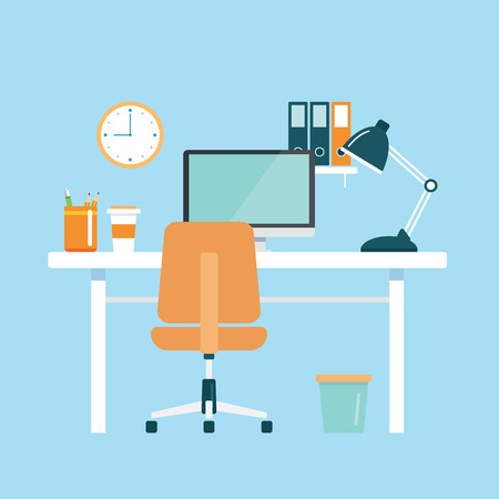 work office: office workplace flat design