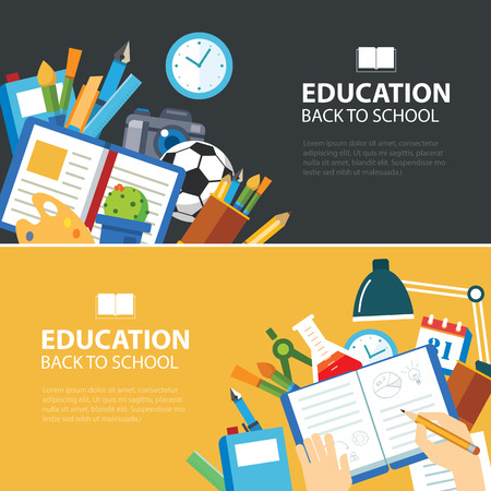 教育と学校のバナーはフラットなデザインをコンセプトに戻る