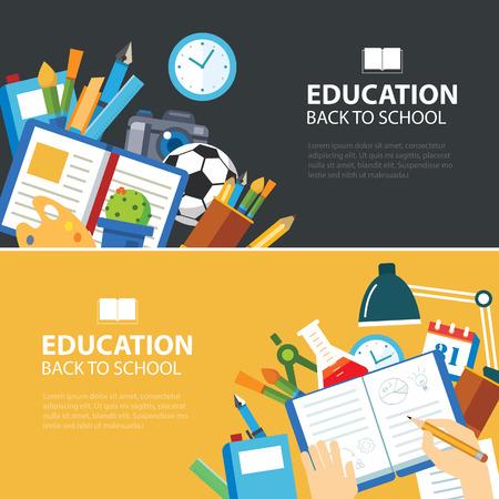 espalda: la educación y de regreso a la escuela bandera concepto de diseño plano Vectores
