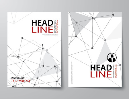 line design: set of abstract technology business magazine cover , flyer, brochure flat design template