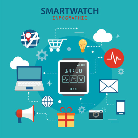 time: smart watch technology concept background Illustration