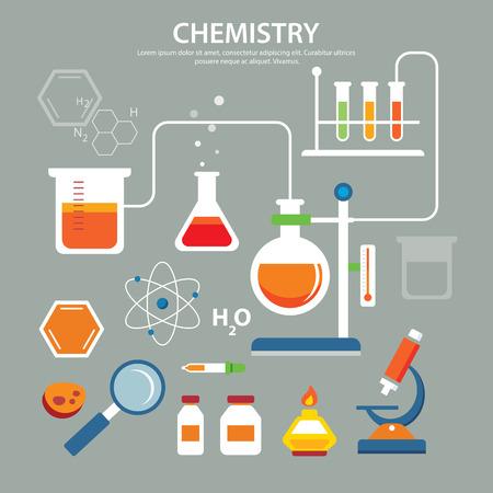 laboratory equipment: chemistry background education concept flat design Illustration