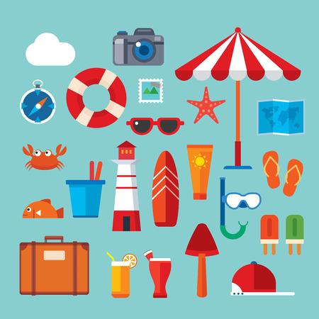 Sommer und reisen flach Symbol Standard-Bild - 43651263