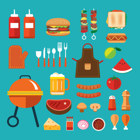 bbq picnic: barbecue flat icon Illustration