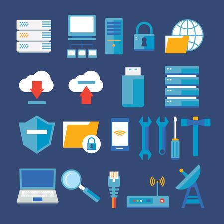 icono computadora: red informática y el icono de la base de datos plana Vectores