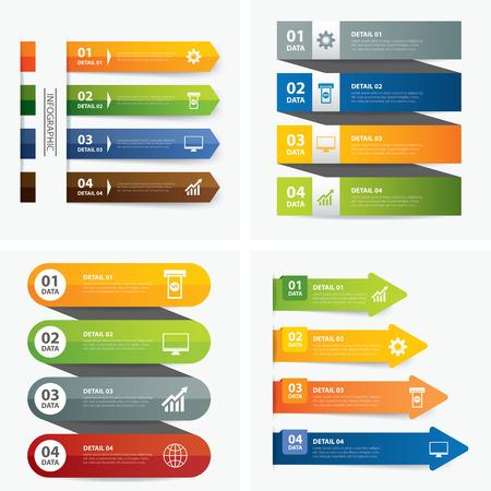 インフォ グラフィック テンプレートのセット  イラスト・ベクター素材