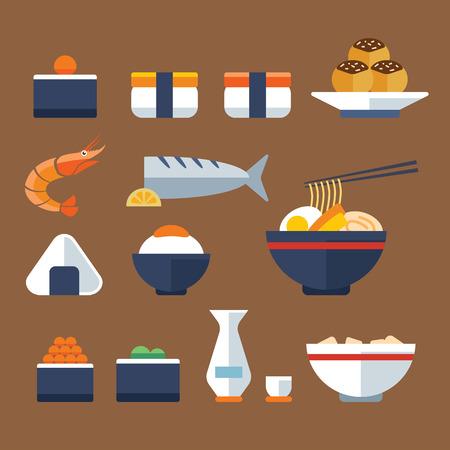 日本料理: 日本食品フラット アイコン  イラスト・ベクター素材