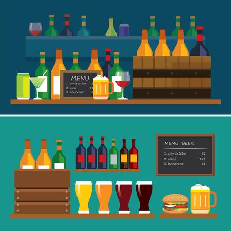 tomando alcohol: bebidas y cerveza bandera diseño plano