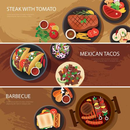 ストリート食品の web バナー、ステーキ、メキシコのタコスなど、バーベキュー  イラスト・ベクター素材