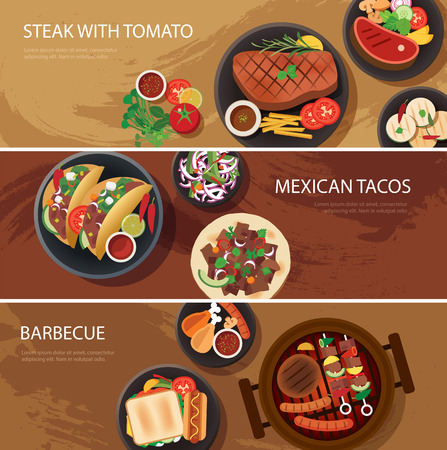 street food: street food web banner, steak , mexican tacos, barbecue