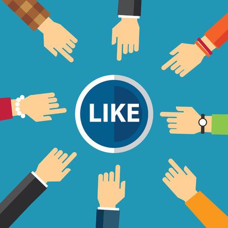 hand clike like button 向量圖像