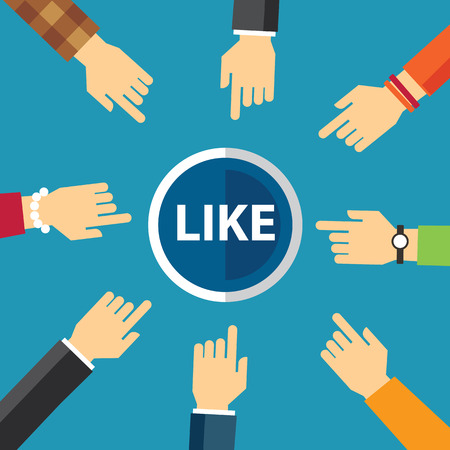 like button: hand clike like button Illustration