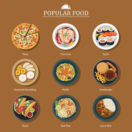 conjunto de comida popular Vectores