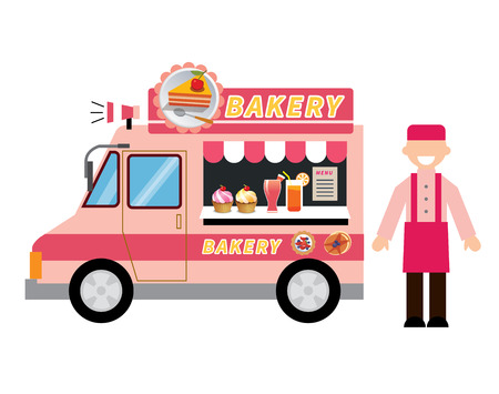 food illustration: food truck bakery