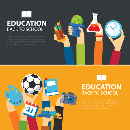 education and back to school banner concept flat design Ilustracja