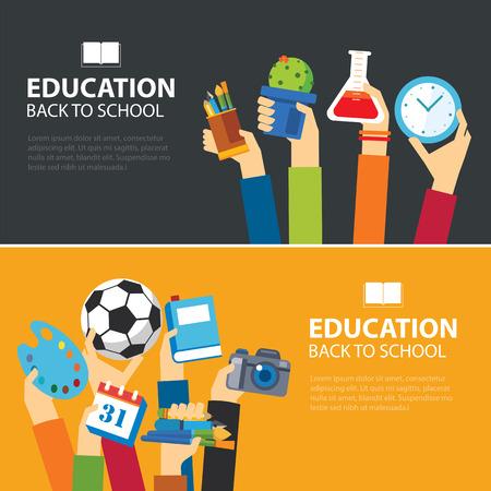 SCUOLA: istruzione e di nuovo a scuola bandiera concetto di design piatto