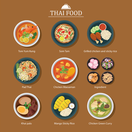 dishes set: set of thai food