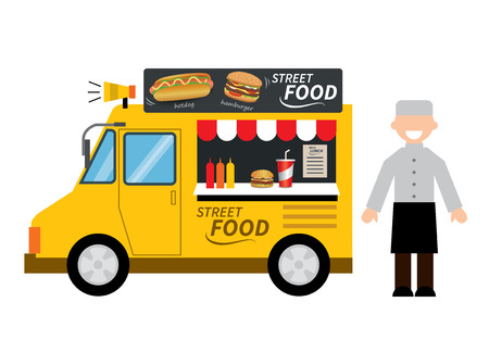 mat: matlastbil hamburgare, varmkorv, street food Illustration