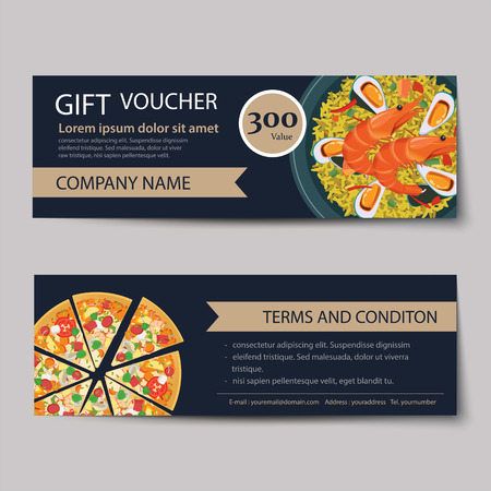 lunch: set of food voucher discount template design