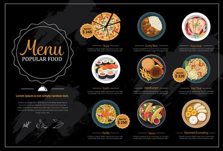 alimentos y bebidas: men� de comida popular