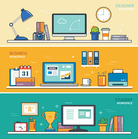 people laptop: set of thin line flat design workspace. designer,business,student