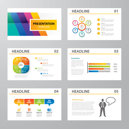 set of infographic presentation template flat design