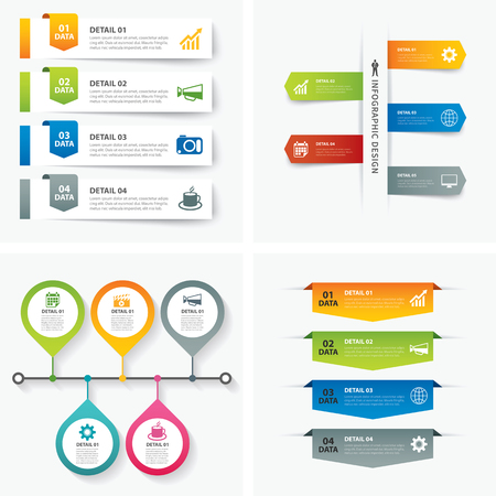 button set: set of infographic templates flat design