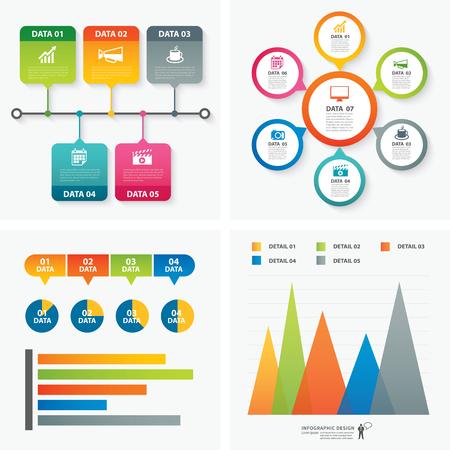set van infographic templates platte ontwerp