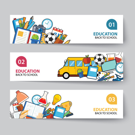 education and back to school banner concept flat design Çizim