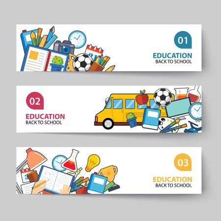 utiles escolares: la educación y de regreso a la escuela bandera concepto de diseño plano Vectores