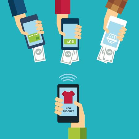 online shopping: mobile e-commerce concept flat design Illustration