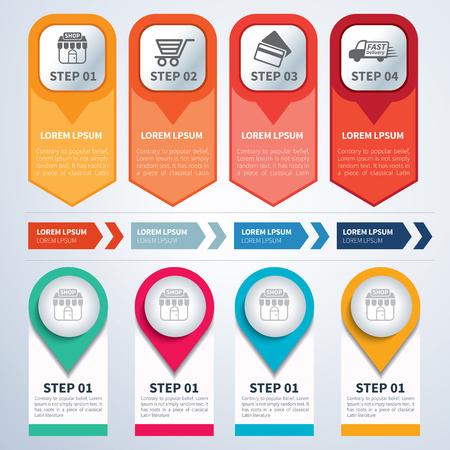 Un ensemble de modèles de conception infographique plat Banque d'images - 45713626
