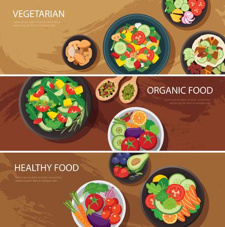 食品 web バナー フラットなデザイン。ベジタリアン、オーガニック食品、健康食品