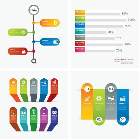 Conjunto de plantillas de diseño infográficas plana Foto de archivo - 46099032