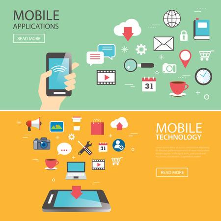Mobile Anwendung Technologie-Banner-Vorlage flaches Design Standard-Bild - 46099035